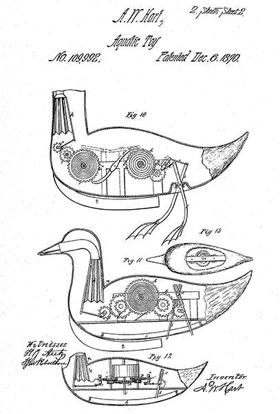 1870 - Aquatic Toy - A. W. Hart - Patent Art Mug