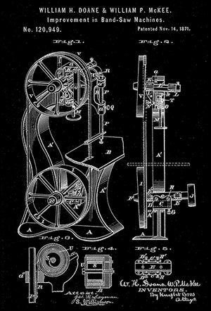 1871 - Band Saw Machine - W. H. Doane & W. P. McKee - Patent Art Poster