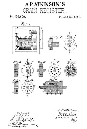 1871 - Grain Register - A. P. Atkinson - Patent Art Magnet
