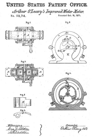 1871 - Improved Water Meter - A. O'Leary - Patent Art Poster