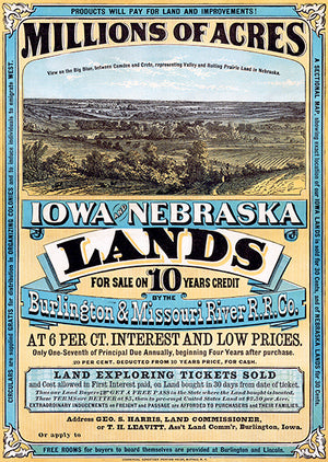 1872 Burlington & Missouri River Railroad - Iowa & Nebraska Land - Advertising Poster