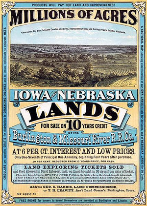 1872 Burlington & Missouri River Railroad - Iowa & Nebraska Land - Advertising Magnet