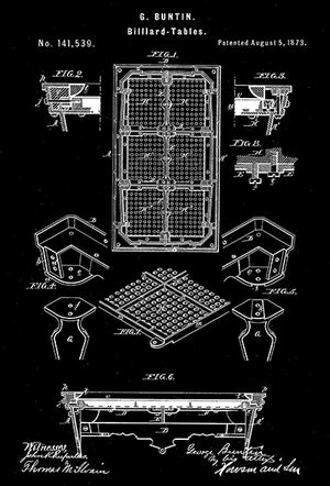 1873 - Billiard Table - G. Buntin - Patent Art Poster