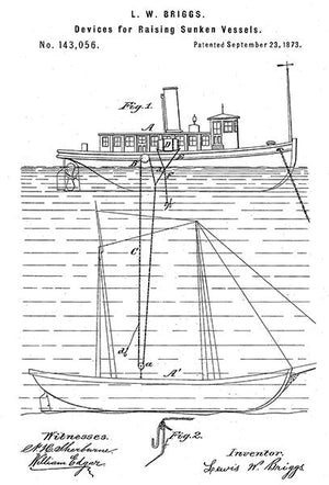 1873 - Device For Raising Sunken Vessels - L. W. Briggs - Patent Art Magnet