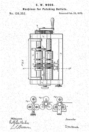 1873 - Machine For Patching Bullets - S. W. Wood - Patent Art Poster