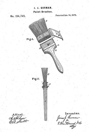 1873 - Paint Brush - J. J. Gorman - Patent Art Poster