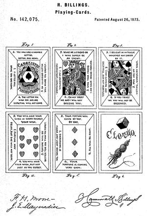 1873 - Playing Cards - H. Billings - Patent Art Poster