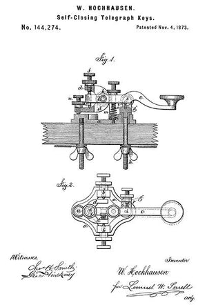 1873 - Self Closing Telegraph Keys - W. Hochhausen - Patent Art Magnet