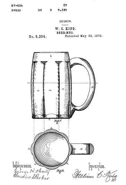 1876 - Beer Mug - W. C. King - Patent Art Mug