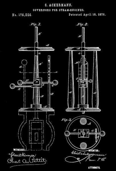 1876 - Governors For Steam-Engines - C. Ackermann - Patent Art Poster