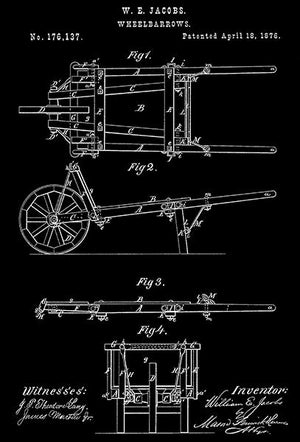 1876 - Wheelbarrows - W. E. Jacobs - Patent Art Magnet