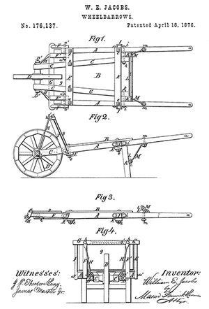 1876 - Wheelbarrows - W. E. Jacobs - Patent Art Poster