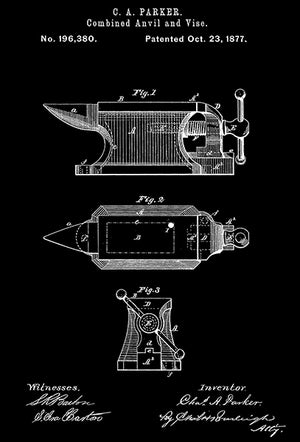 1877 - Combined Anvil And Vise - C. A. Parker - Patent Art Poster
