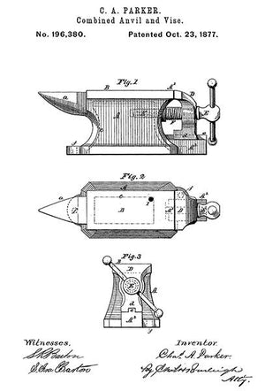 1877 - Combined Anvil And Vise - C. A. Parker - Patent Art Magnet