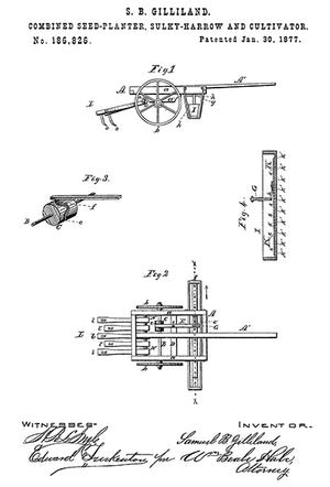 1877 - Combined Seed-Planter, Sulky-Harrow and Cultivator - S. B. Gilliland - Patent Art Poster