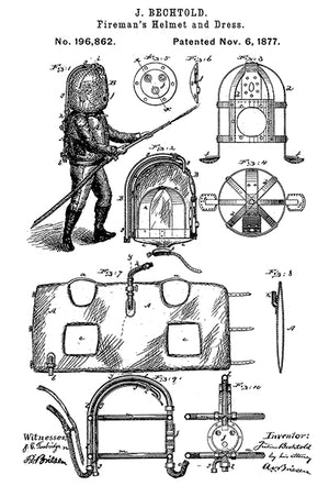 1877 - Fireman's Helmet and Dress - J. Bechtold - Patent Art Poster