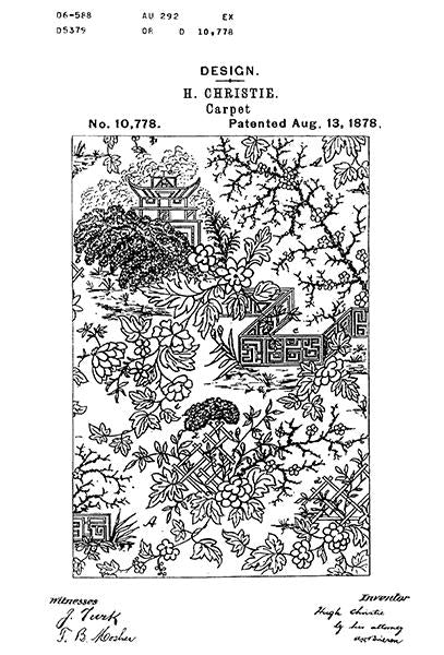 1878 - Carpet Design - H. Christie - Patent Art Mug