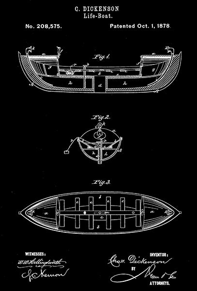 1878 - Life-Boat - C. Dickenson - Patent Art Poster