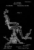 1879 - Dentist's Chair - E. T. Starr - Patent Art Poster