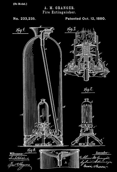 1880 - Fire Extinguisher -  A. M. Granger - Patent Art Poster