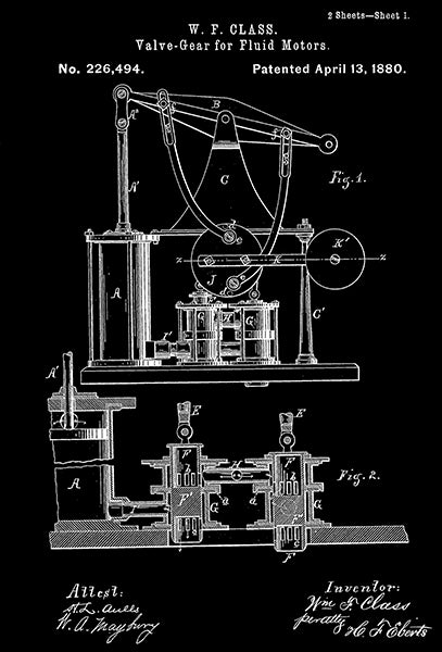 1880 - Valve-Gear For Fluid Motors - W. F. Class - Patent Art Poster
