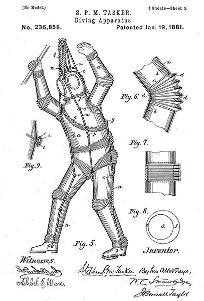 1881 - Armored Diving Suit - S. P. M. Tasker - Patent Art Mug