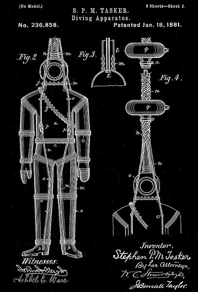 1881 - Diving Apparatus - S. P. M. Tasker - Patent Art Poster