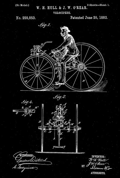 1882 - Velocipede - W. Hull & J. O'Rear - Patent Art Poster