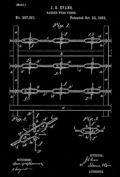 1883 - Barbed Wire Fence - J. E. Evans - Patent Art Poster