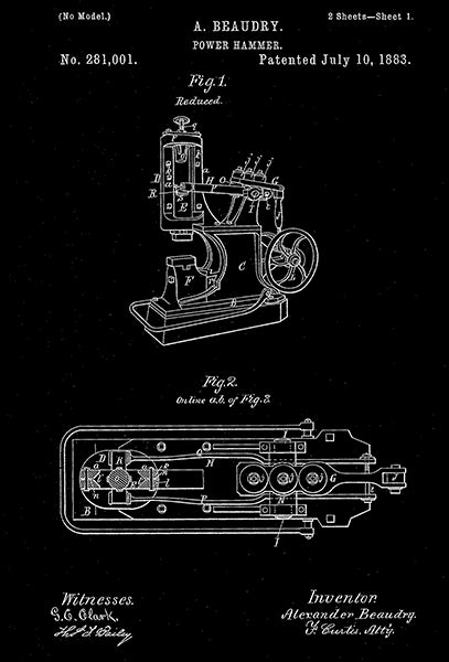 1883 - Power Hammer - A. Beaudry - Patent Art Poster