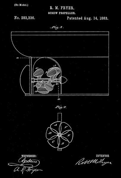 1883 - Screw Propeller - R. M. Fryer - Patent Art Poster