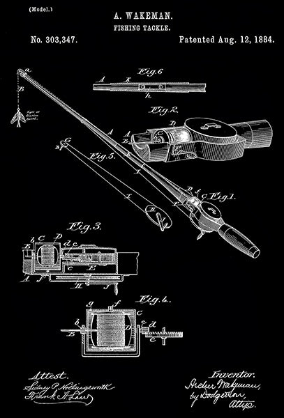 1884 - Fishing Tackle - A. Wakeman - Patent Art Poster