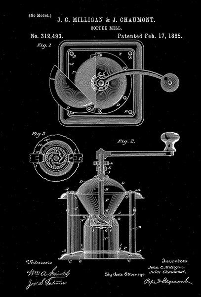 1885 - Coffee Mill - J. C. Milligan & J. Chaumont - Patent Art Poster
