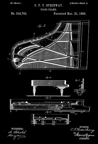 1885 - Piano Frame - C. F. T. Steinway - Patent Art Poster