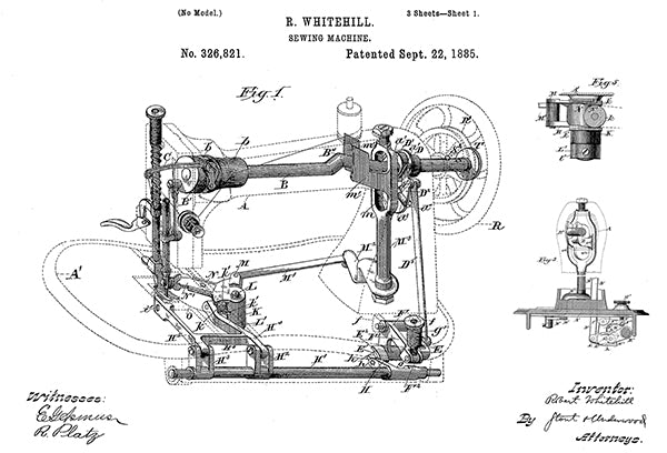 1885 - Sewing Machine - R. Whitehill - Patent Art Poster