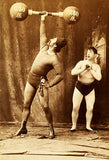 1885 Carnival Sideshow - Strong Man Herbert Bosworth & Admirer - Postcard Poster