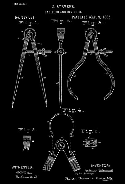 1886 - Calipers And Dividers - J. Stevens - Patent Art Poster