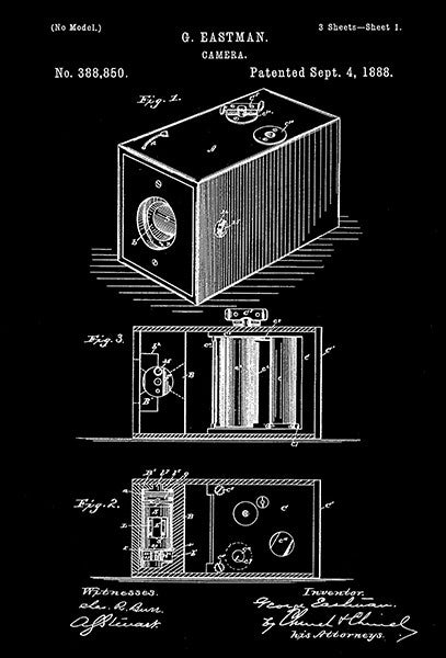 1888 - Camera - G. Eastman - Patent Art Poster