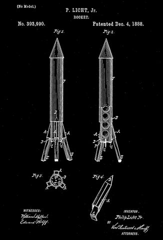 1888 - Rocket - P. Licht, Jr. - Patent Art Poster