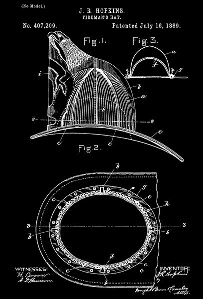 1889 - Fireman's Hat - J. R. Hopkins - Patent Art Poster