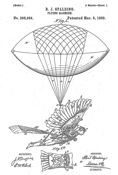 1889 - Flying Machine #2 - R. J. Spalding - Patent Art Poster