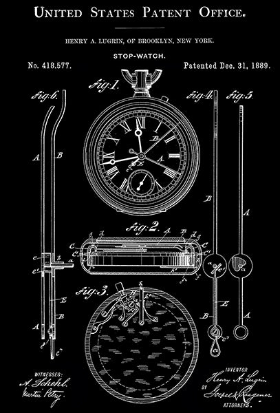1889 - Stop Watch - H. A. Lugrin - Patent Art Poster