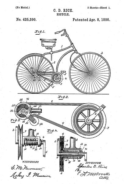 1890 - Bicycle - C. D. Rice - Patent Art Poster