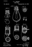1890 - Lamp Base - Thomas A. Edison - Patent Art Poster