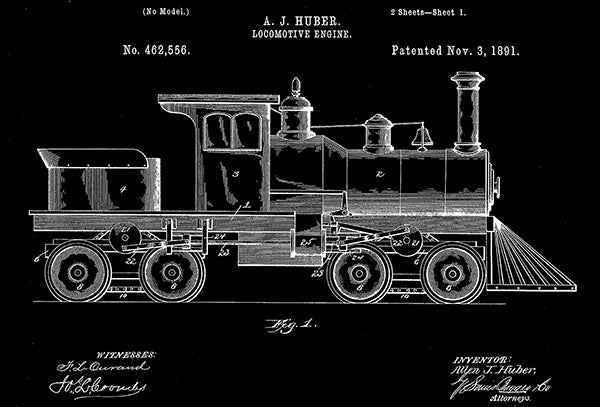 1891 - Locomotive Engine - Train - A. J. Huber - Patent Art Poster