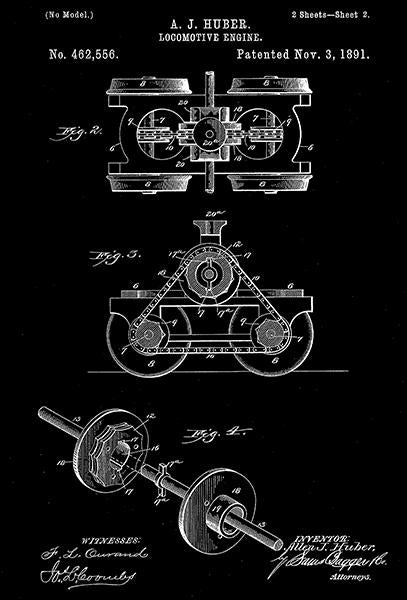 1891 - Locomotive Engine #2 - A. J. Huber - Patent Art Mug