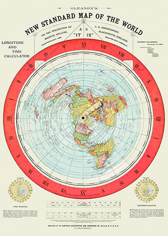 1892 - Flat Earth Map - Gleason's New Standard Map Of The World Poster