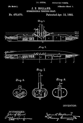 1892 - Submergible Torpedo Boat - Submarine - J. P. Holland - Patent Art Poster