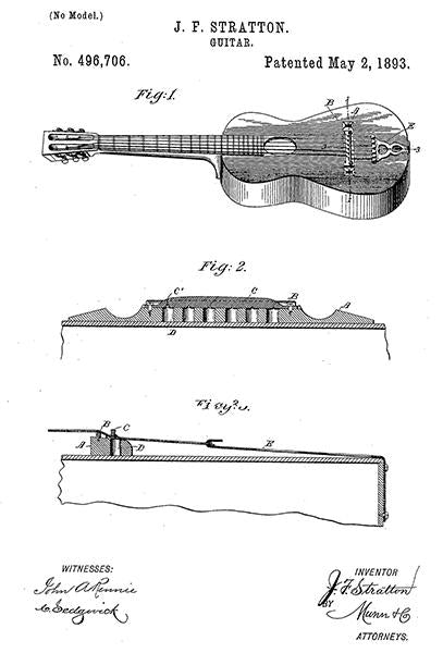 1893 - Stratton Acoustic Guitar - Patent Art Mug