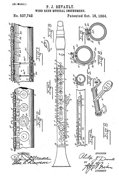 1894 - Clarinet - Wind Reed Musical Instrument - P. J. Devault - Patent Art Poster